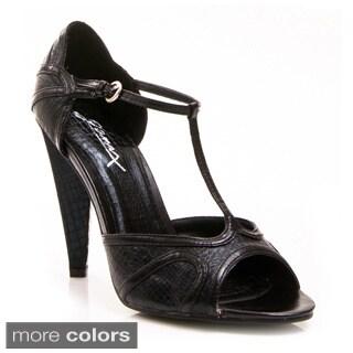 Gomax Women's 'Luna-10' Snake-embossed T-strap High-heels
