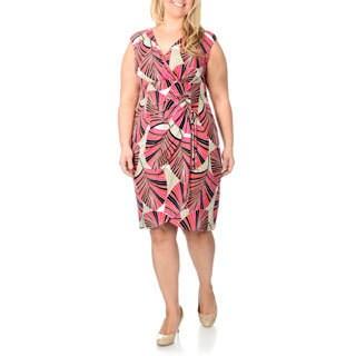 London Times Women's Plus Geometric Printed Mock Wrap Dress