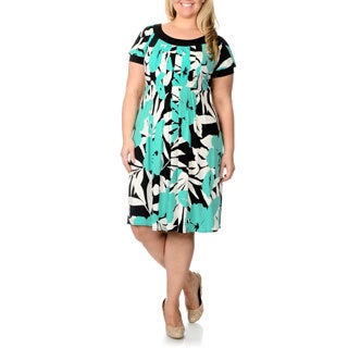 London Times Floral Printed Plus Size Dress