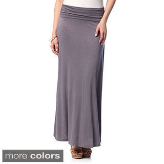 Hadari Women's Solid Fold-over Maxi Skirt