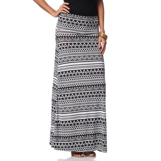 Hadari Women's Black/ White Tribal Print Maxi Skirt