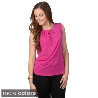 Calvin Klein Women's Sleeveless Pleated Neck Top