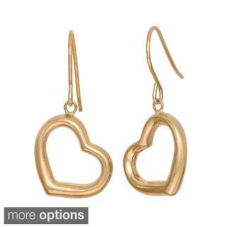 Gioelli 14k Gold Dangle Open Heart Earrings