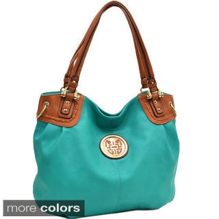 Two-tone Shoulder Bag with Gold Logo Accent