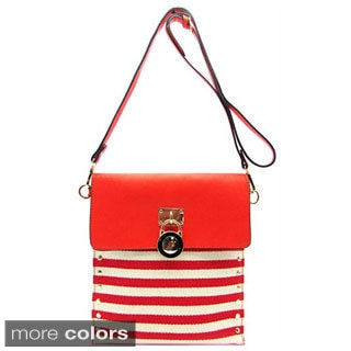 Striped Canvas Lock Accent Crossbody Bag