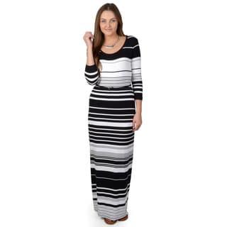 Calvin Klein Women's Half-sleeve Striped Maxi Dress