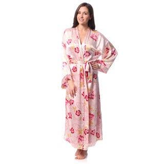 Julianna Rae Women's 'Rose Memories' Long Silk Robe