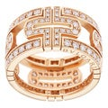 Bvlgari 18k Rose Gold 1 2/5ctw Diamond Parentesi OpenWork Ring (D-F, VVS1)
