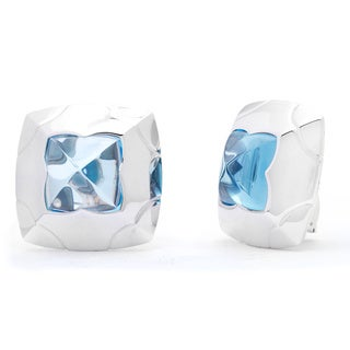 Bvlgari 18k White Gold Blue Topaz Piramide Earrings