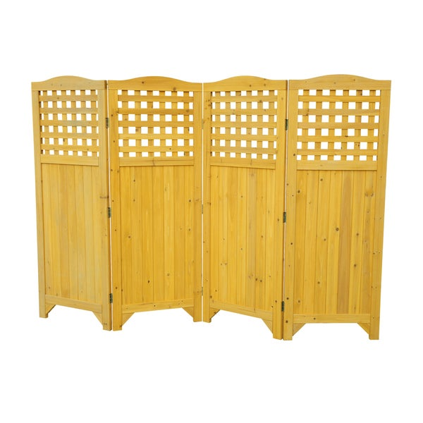 Folding wood patio garden privacy screen 16117060 for Wood patio privacy screens