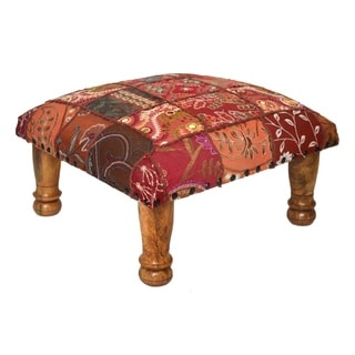 Vintage patchwork Embroidered Footstool