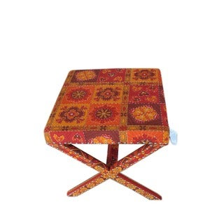 Wooden Kilim Upholstered Footstool