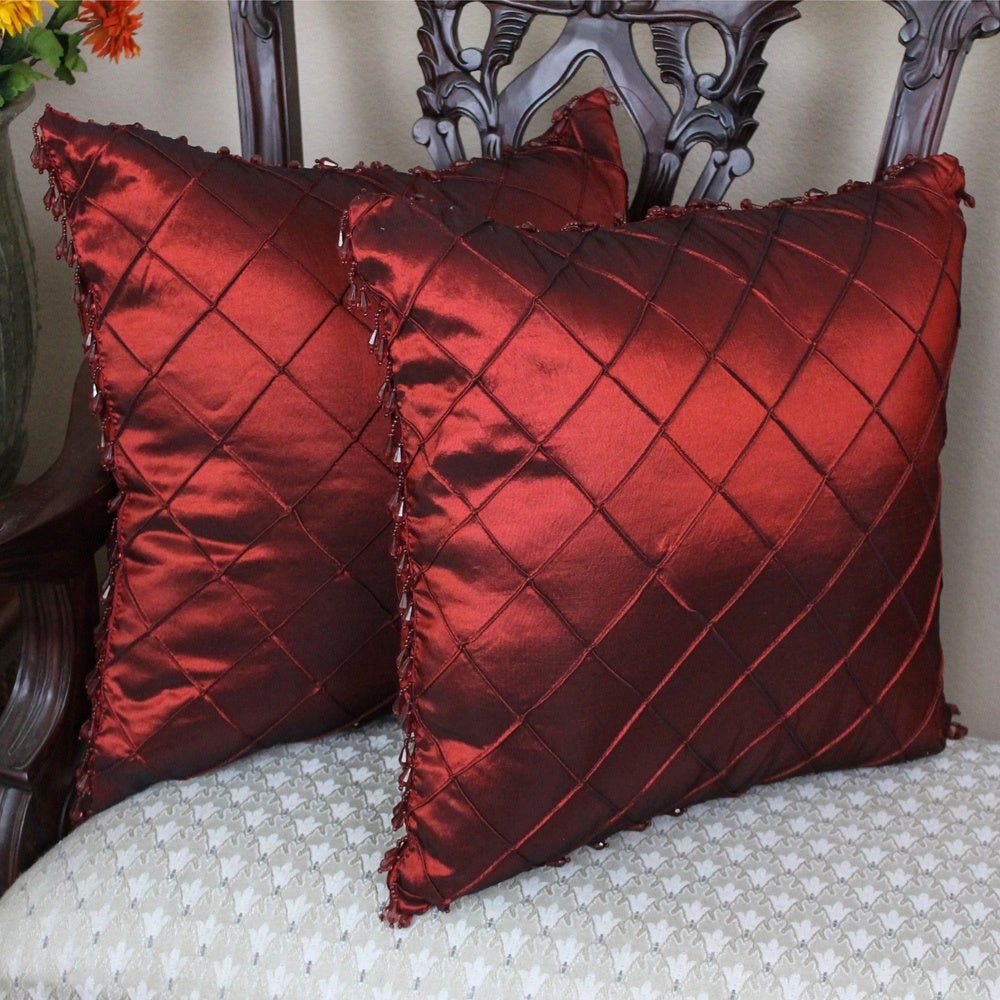 Blazing Needles 18-inch Beaded Satin Sheen Polyester Square Throw Pillows (Set of 2) at Sears.com