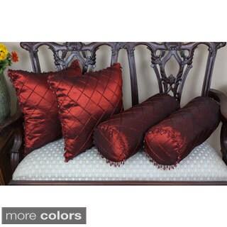 Blazing Needles Beaded Satin Sheen Polyester Throw Pillows (Set of 4)