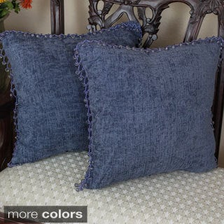 Blazing Needles 18-inch Beaded Solid Chenille Square Throw Pillows (Set of 2)