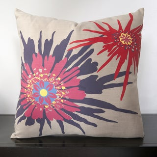 Rose Starburst Pink Down & Feather or Poly Filled Throw Pillow
