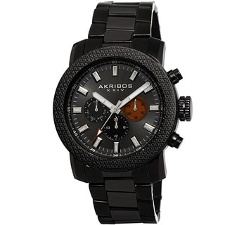 Akribos XXIV Men's Swiss Quartz Multifunction Stainless Steel Black Bracelet Watch