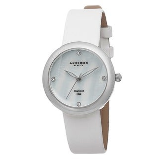 Akribos XXIV Women's Swiss Quartz Mother of Pearl Diamond Strap Watch