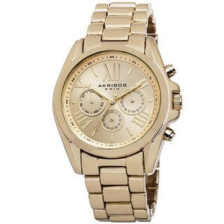Akribos XXIV Women's Swiss Quartz Multifunction Gold-tone Bracelet Watch