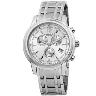 Akribos XXIV Men's Swiss Quartz Chronograph Stainless Steel Bracelet Watch