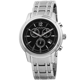 Akribos XXIV Men's Swiss Quartz Chronograph Stainless Steel Silver-Tone Bracelet Watch