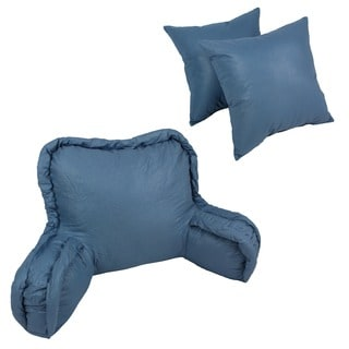 Corded Bedrest Back Support Pillow and 16-inch Throw Pillows (Set of 3)