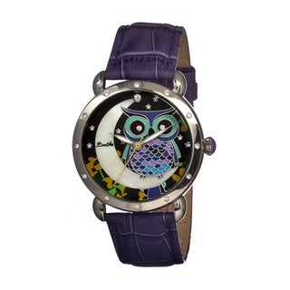Bertha Women's 'Ashley' Owl Purple Leather Analog Watch