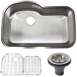 32-inch 18-gauge Stainless Steel Undermount Kitchen Sink w/ Accessories