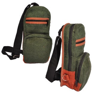 Hand-woven Unisex Green/ Orange Natural Hemp Mini Backpack (Nepal)