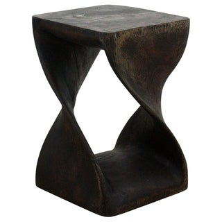 Hand-carved Mocha Acacia Wood Twist Stool (Thailand)