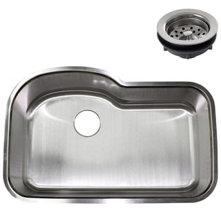 32-inch Stainless Steel Undermount Single Bowl Kitchen Sink w/ Regular Strainer