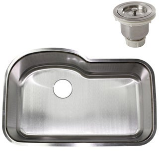 32-inch Stainless Steel Undermount Single Bowl Kitchen Sink w/ Basket Strainer