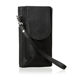 Saffiano Leather Black Cell Phone Wallet / Wristlet