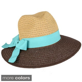 Journee Collection Women's Tonal Ribbon Accent Fedora