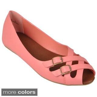 Journee Collection Women's 'Giada-03' Peep Toe Double Buckle Flats