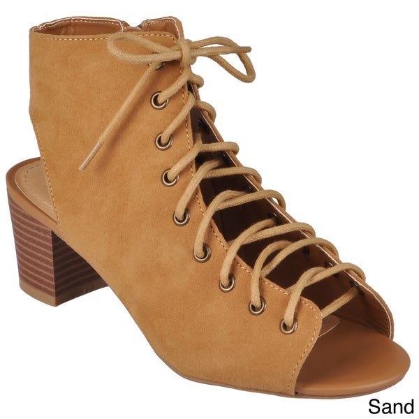 Hailey Jeans Co. Women's 'Leroy-06' Lace-up Faux Suede Heels