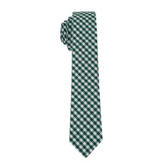 Skinny Tie Madness Men's Green Gingham Plaid Skinny Tie