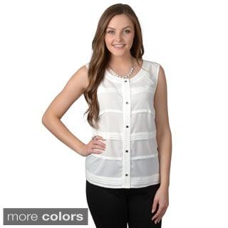 Calvin Klein Women's Sleeveless Button-up Top
