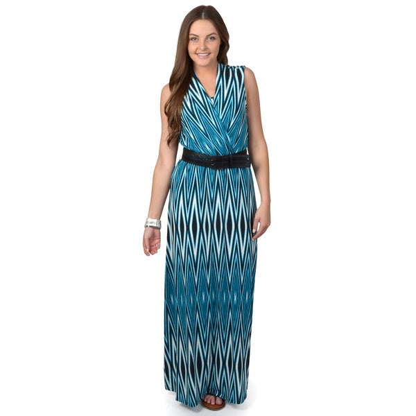 Calvin Klein Women's Teal Sleeveless Belted Maxi Dress