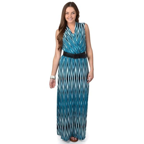 Calvin Klein Women's Teal Sleeveless Belted Maxi Dress