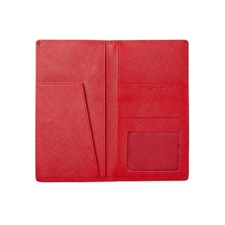 Katie Saffiano Red Leather Passport/ Travel Wallet