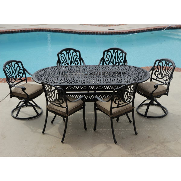 Rosedown 7 piece Cast Aluminum Patio Furniture Set Overstock™ Shopping Bi