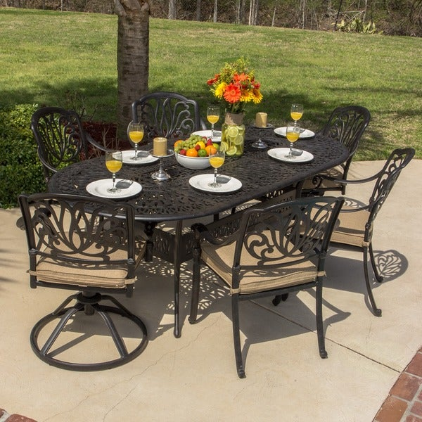 Rosedown 7 piece cast aluminum patio furniture set for Home design 6 piece patio set