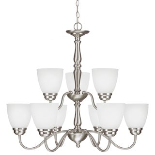 Northbrook 9-light Brushed Nickel/ Satin Etched Glass Chandelier