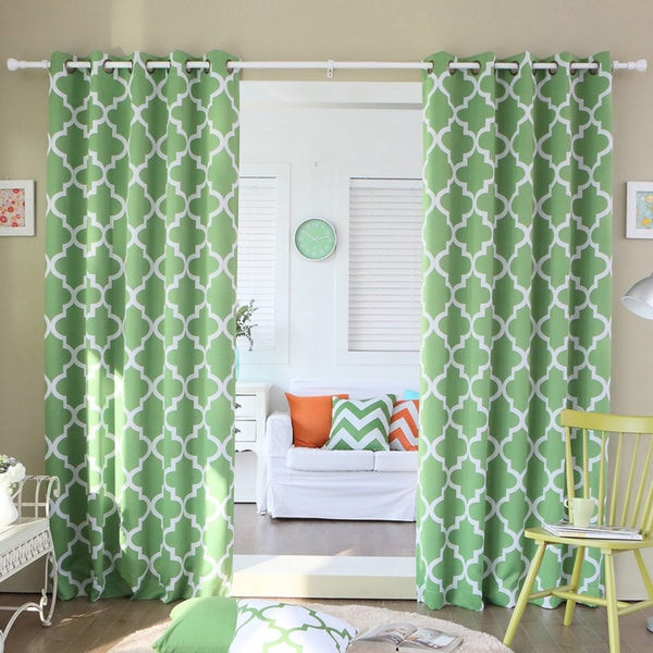 Lights Out Moroccan Tile Room Darkening Grommet Top 84-inch Curtain Panel Pair
