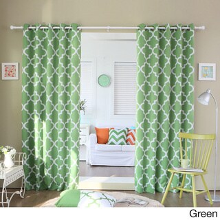Moroccan Tile Room Darkening Grommet Top 84-inch Curtain Panel Pair