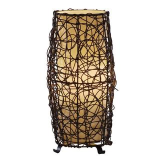 1-light Aged Bronze Finish Faux Rattan Table Lamp