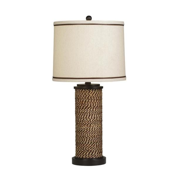 Transitional 1-light Natural Rope/ Beige Shade Table Lamp