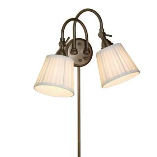 2-light Bronze Plug-in Transitional Wall Sconce