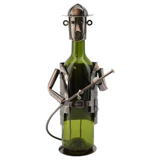 WineBodies Firefighter in Bronze Metal Wine Bottle Holder